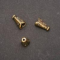 Фурнитура наконечник для бусин желтый металл 13х4х7мм d-in-1,4-5мм фас. 14шт.