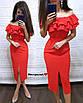 Легкое нарядное платье длины ниже колена с двойным воланом от груди, фото 5