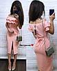 Легкое нарядное платье длины ниже колена с двойным воланом от груди, фото 2