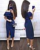 Легкое нарядное платье длины ниже колена с двойным воланом от груди, фото 6