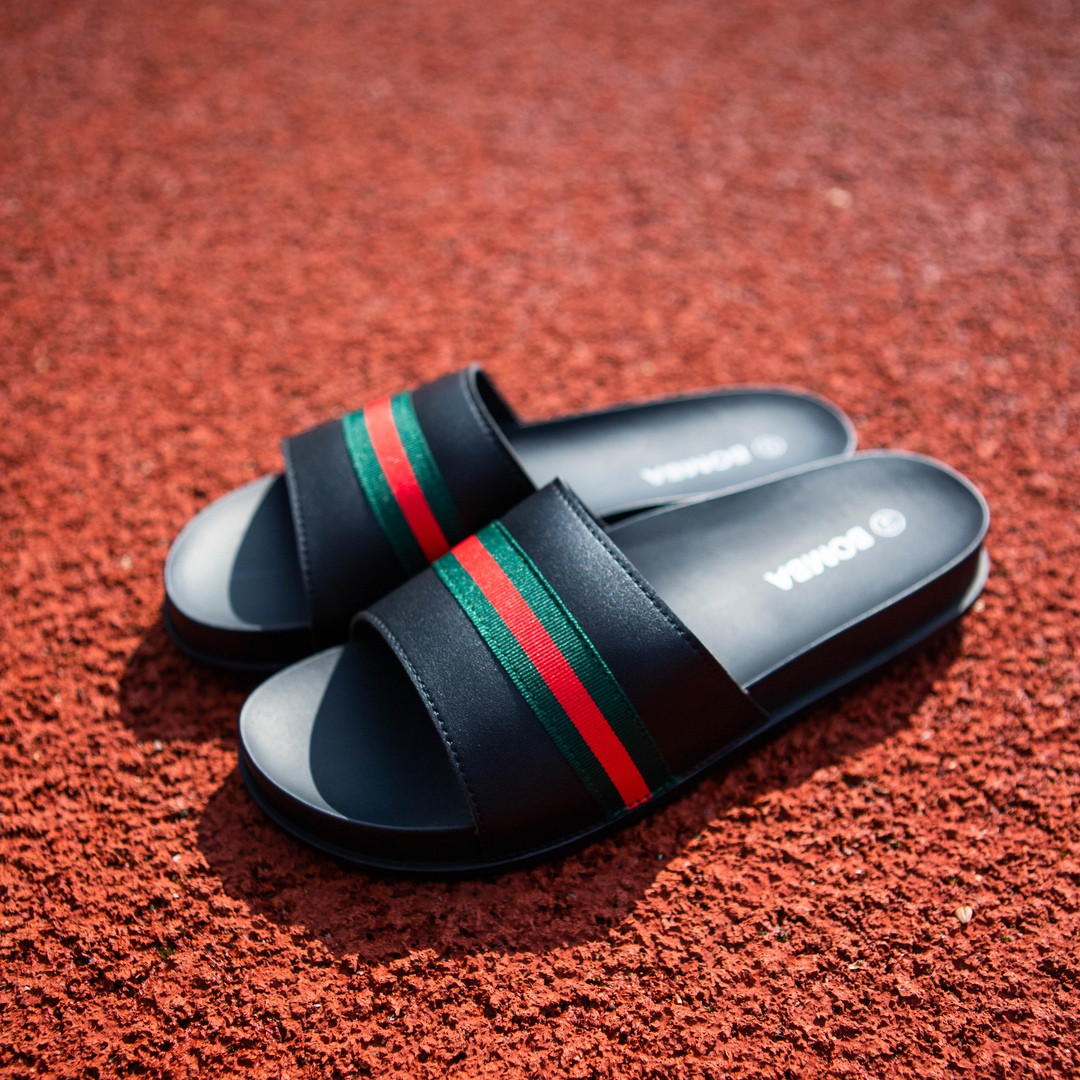Кожаные летние мужские шлепки повседневные с открытым носком (черные)