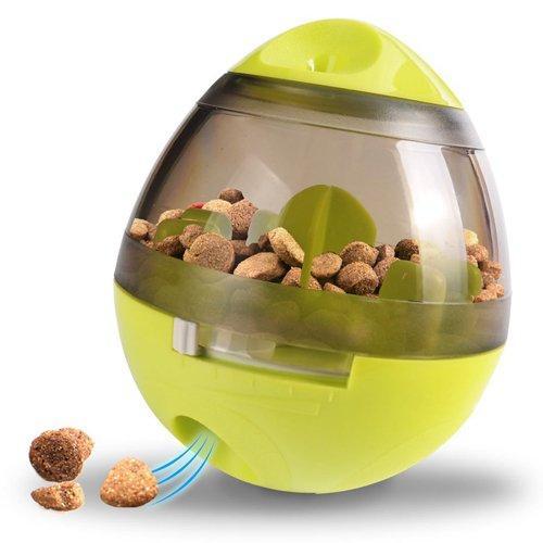 Игрушка неваляшка-дозатор Wellood  для собак интерактивная салатная 10х12 см