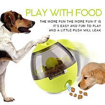 Игрушка неваляшка-дозатор Wellood  для собак интерактивная салатная 10х12 см, фото 2