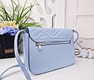 Женская сумка голубого цвета, эко-кожа , фото 3