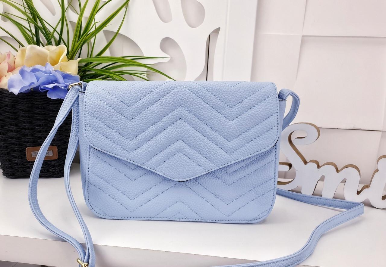 Женская сумка голубого цвета, эко-кожа