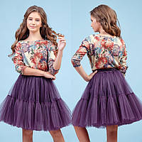 Блестящий комплект юбка + блуза  zironka