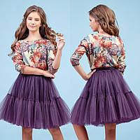 Фиолетовый комплект юбка + блуза zironka