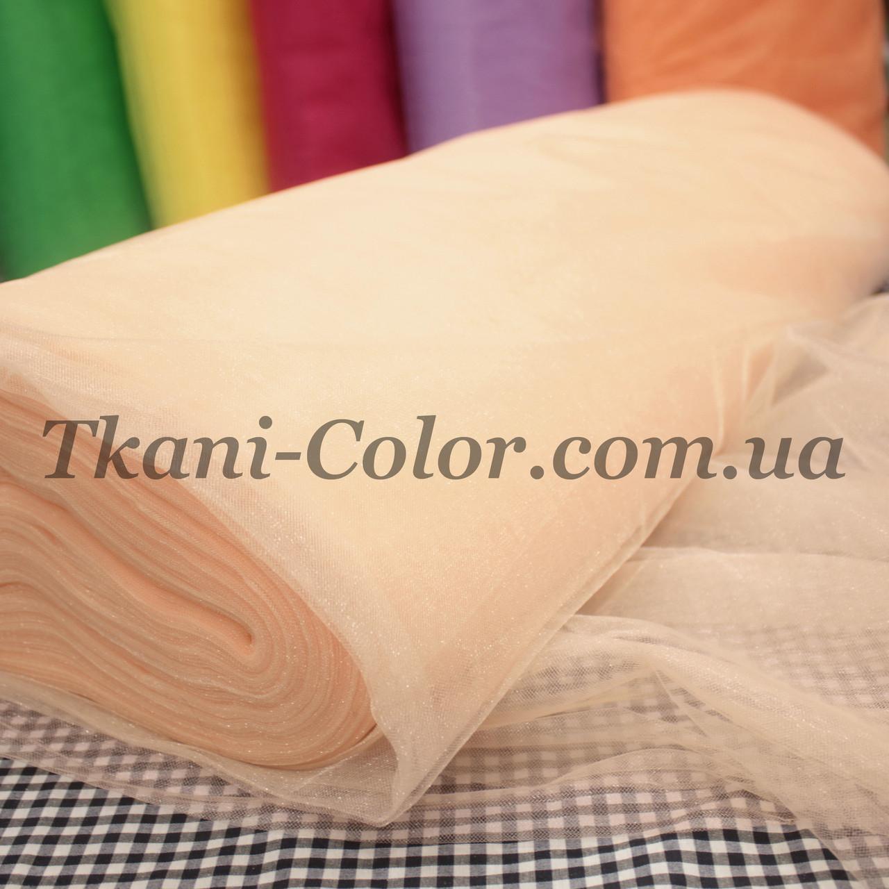 Тканина фатин середньої жорсткості світло-персиковий