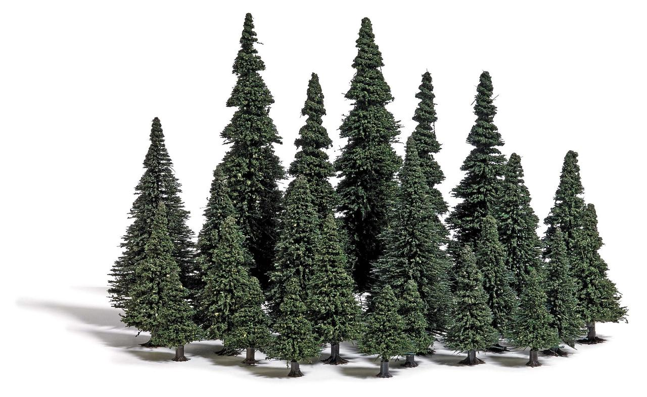 Busch 9779 Набор деревьев, 24 шт Ели с корневыми ножками. Высота деревьев от 40 до 135 мм / TT,H0