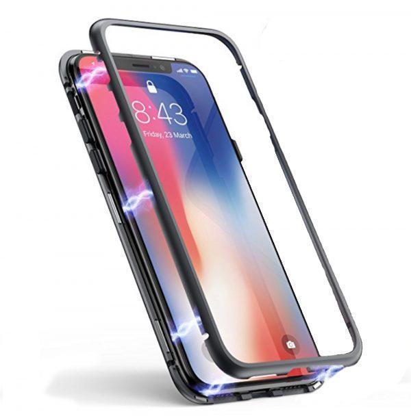 Магнитный чехол со стеклянной задней панелью для iPhone X/XS