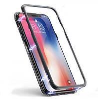 Магнитный чехол со стеклянной задней панелью для iPhone X/XS, фото 1