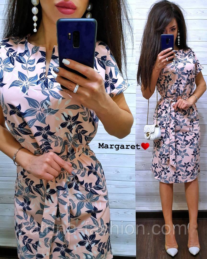 Женское легкое летнее платье с поясом (расцветки)