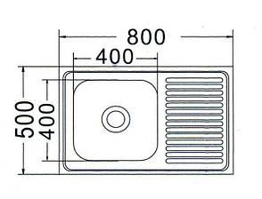 Мойка прямоугольная накладная 800х500х180 Satin Left, фото 2
