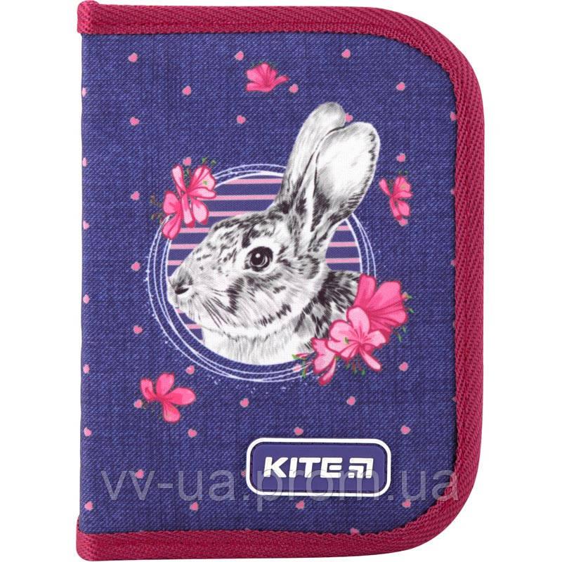 Пенал для школы с наполнением Kite Education Fluffy bunny K19-622H-3, 1 отделение, 2 отворота