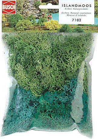 """Busch 7102  Набор для ланшафтных дизайнов"""" Мох светло зеленый """" масштабы G, 0, H0, TT, N, Z"""