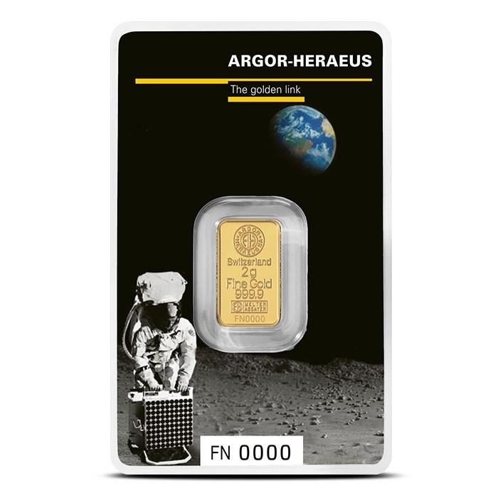 Слиток 2 грамма 50-летия посадки на Луну Argor-Heraeus SA (НОВЫЙ)