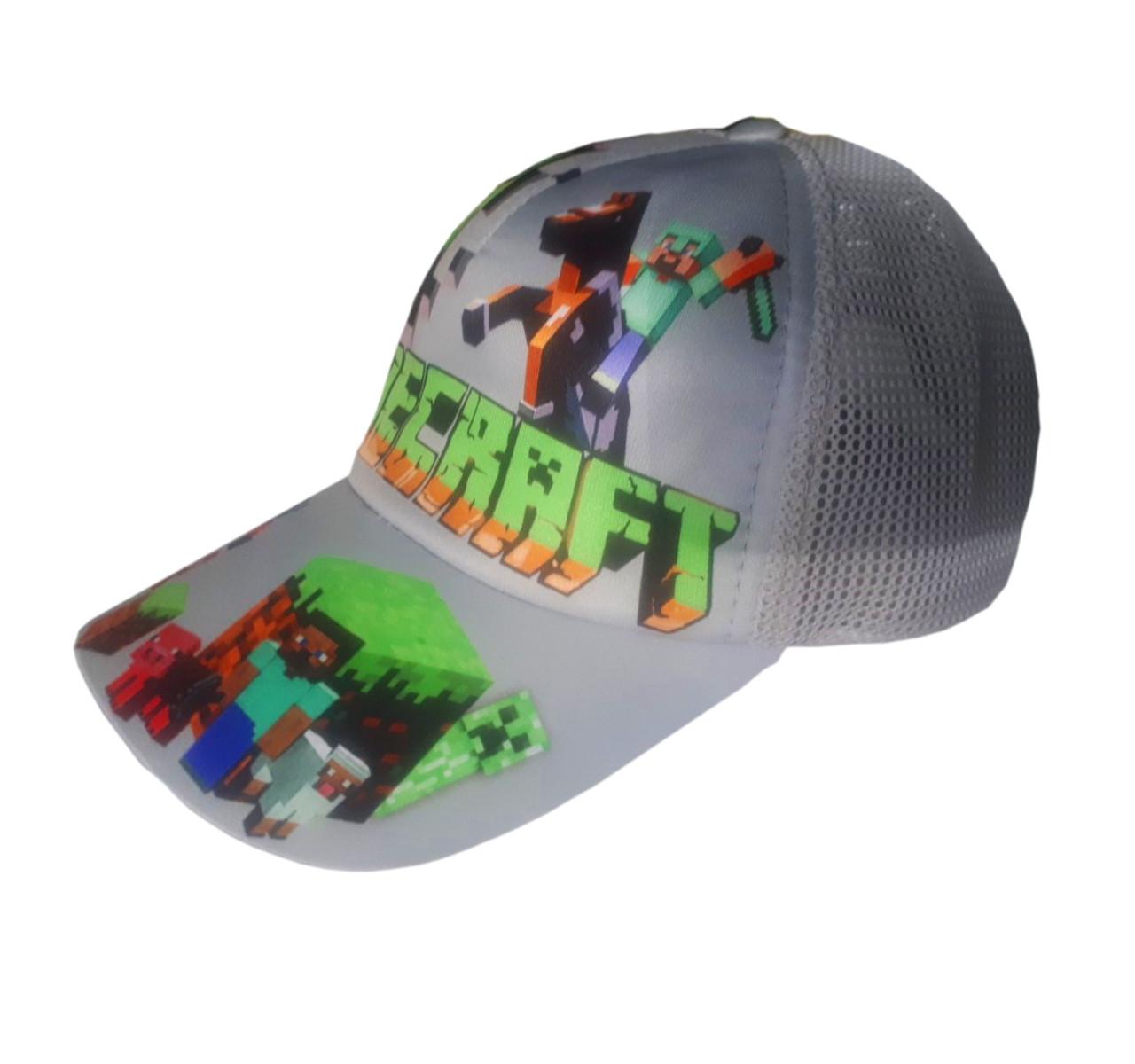 Детская летняя кепка Майнкрафт с сеточкой, цвет серый, панамка MinecraНет в наличии