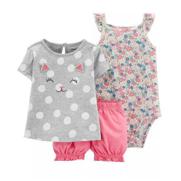 Набор боди, туника и шорты для девочки Carters милый котенок