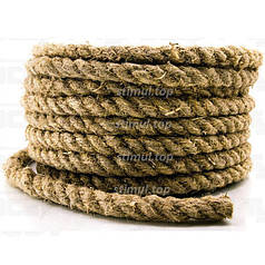 Канат пеньковый Ø 8 мм (моток 50 метров) для сруба / Мотузка пенькова / Льнопеньковый декоративный шнур
