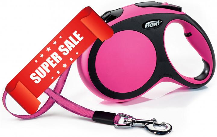 Поводок-рулетка Flexi New Comfort L, 5 м, лента, розовый