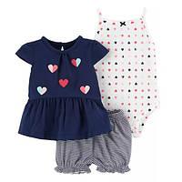 Набор боди, туника и шорты для девочки Carters сердце