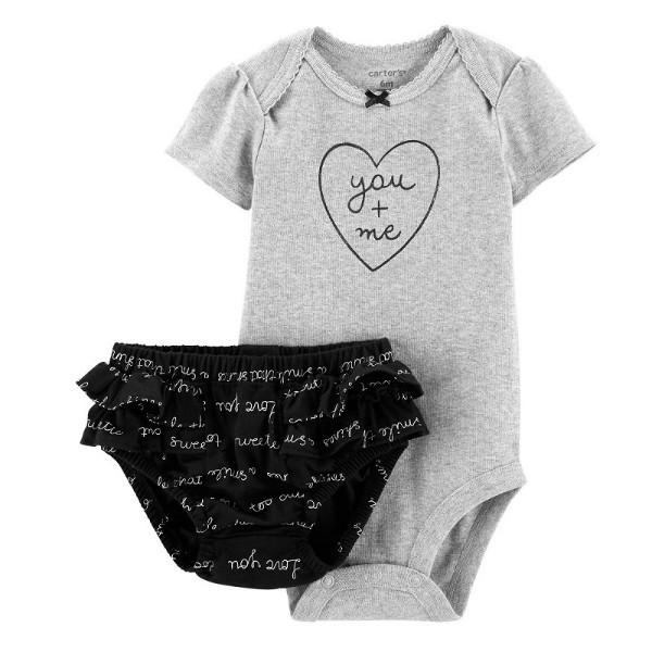 Набор бодик и шорты трусики для девочки Carters любовь