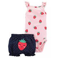 Набор бодик и шорты для девочки Carters клубничка