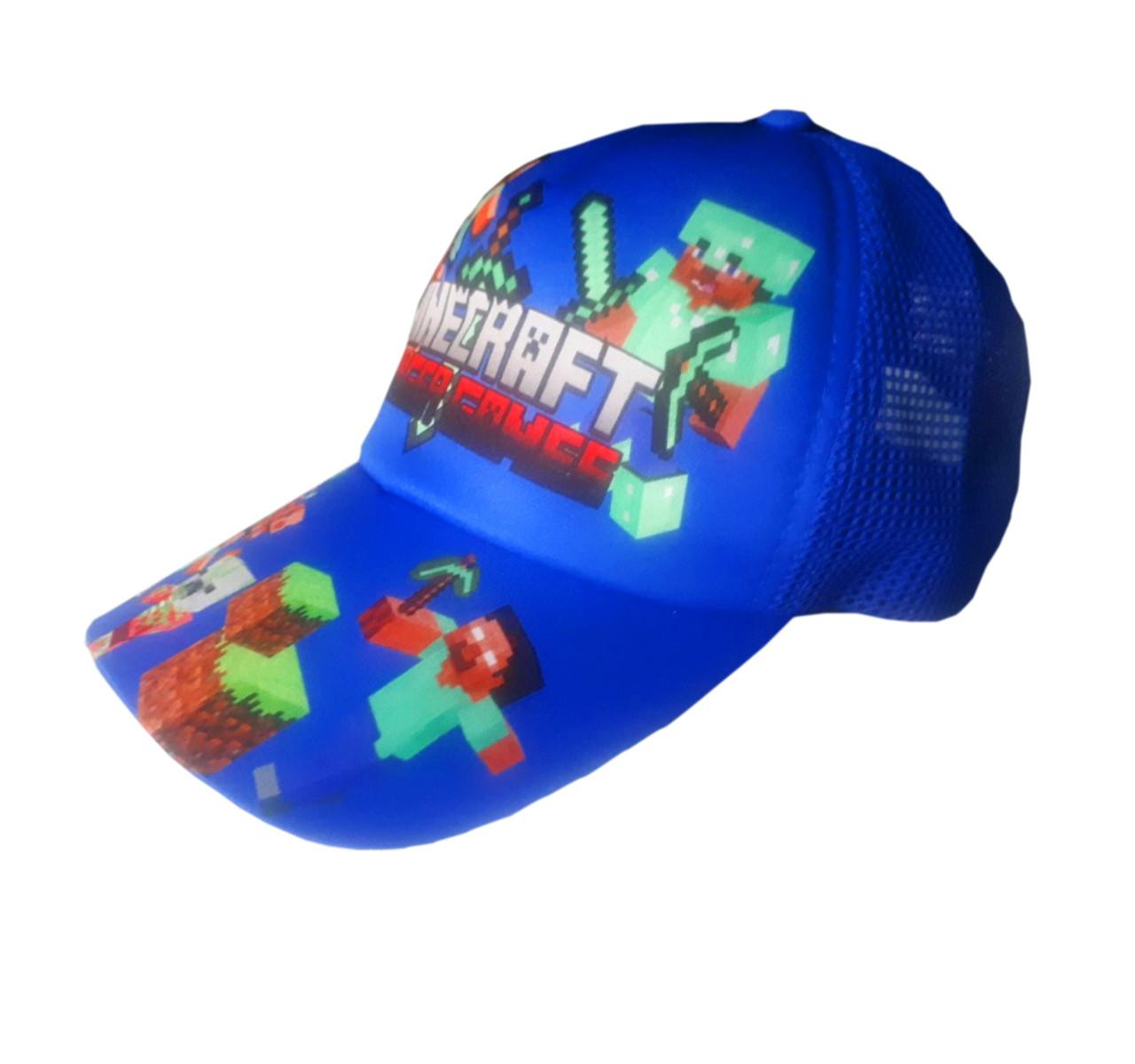 Детская летняя кепка Майнкрафт с сеточкой, цвет синий, панамка MinecraНет в наличии