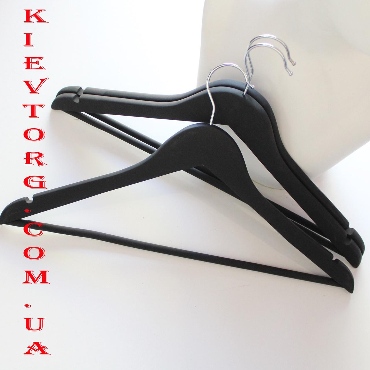 Набор вешалок тремпелей плечиков деревянных для одежды soft-touch (прорезиненных) черных, 44 см, 3 шт