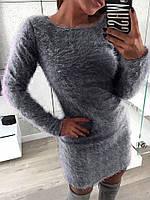 Женское теплое платье травка