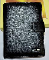 Мужской кожаный черный кошелек Tailian на кнопке 10,5*14,5 см