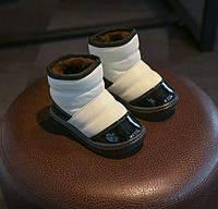 Ботинки детские зимние с мехом PU-кожа белые