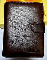 Мужской кожаный каштановый кошелек Tailian на кнопке 10,5*14,5 см