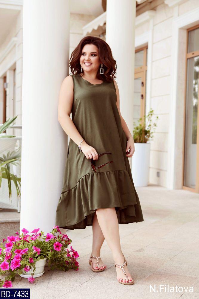 Льняное платье в разных цветах 48-56 р, фото 1