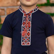 Трикотажна футболка з вишивкою для хлопчика з орнаментом, фото 3