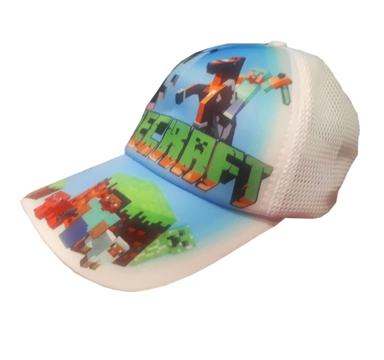 Детская летняя кепка Майнкрафт с сеточкой, цвет белый, панамка MinecraНет в наличии