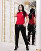 Удобный женский спортивный костюм летний: футболка и зауженные черные штаны с манжетами, батал большие размеры, фото 4
