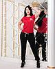 Удобный женский спортивный костюм летний: футболка и зауженные черные штаны с манжетами, батал большие размеры, фото 3
