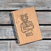 Блокноты с деревянной обложкой. Босс. Формат А5. Сменный блок. (А00401)