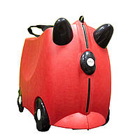 Детский Чемодан на 4 колесиках Trunki / Транки красный с рожками цвет на 18 л. + Подарок