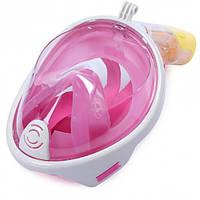 Маска для плавания ныряния дайвинга и снорклинга полнолицевая с креплением на камеру FREE BREATH S/M розовая