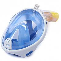 Маска для плавания ныряния дайвинга и снорклинга полнолицевая с креплением на камеру FREE BREATH S/M синяя