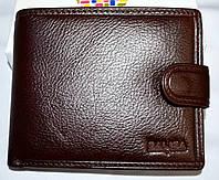 Мужской коричневый кошелек Balisa из натуральной кожи на кнопке 12,5*10*5 см