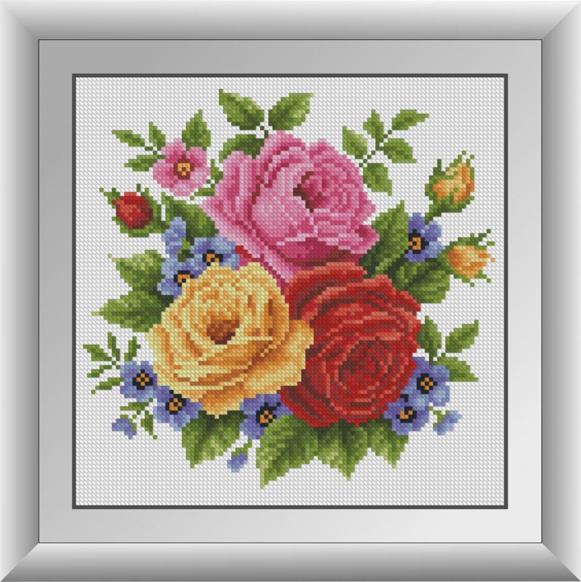 Алмазная живопись Розы с незабудками Dream Art 30702 (26 х 26 см)