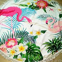 Пляжное круглое покрывало Фламинго | Пляжный коврик | Пляжный плед