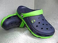 Кроксы, шлёпанцы подростковые летние сине-салатовые на мальчика 39р.
