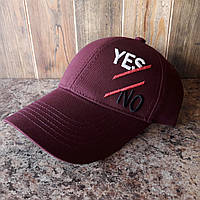 Бейсболка, кепка YES No цвет бордовый реплика, фото 1