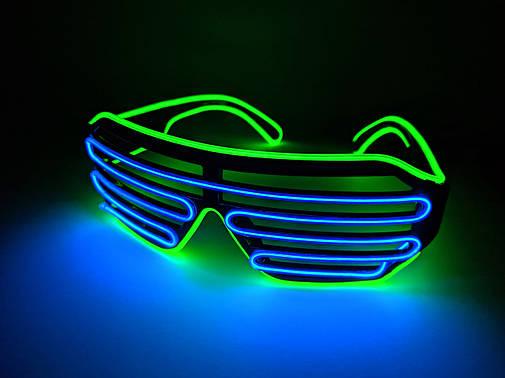 Светодиодые очки светящиеся в темноте зеленый синий, фото 2