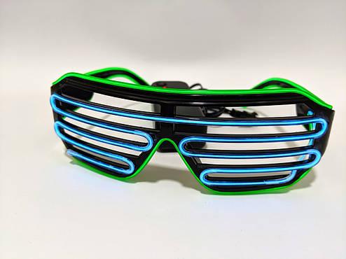 Светодиодые очки светящиеся в темноте зеленый голубой, фото 2