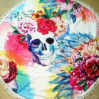 Пляжное круглое покрывало Цветы | Пляжный коврик | Полотенце | Пончо